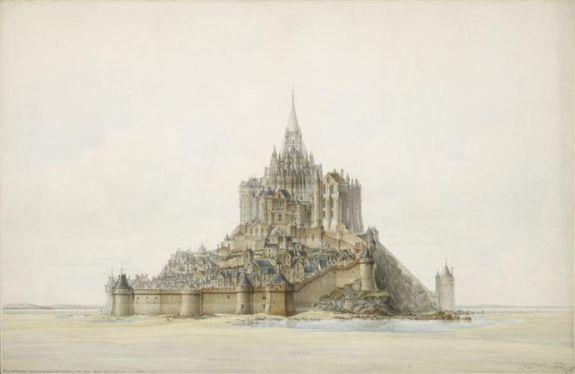 Dessin du projet de restauration du Mont-Saint-Michel, Edouard Corroyer, 1873 © MAP