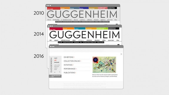 Evolution du design du site web de la Fondation Guggenheim de 2010 à 2016