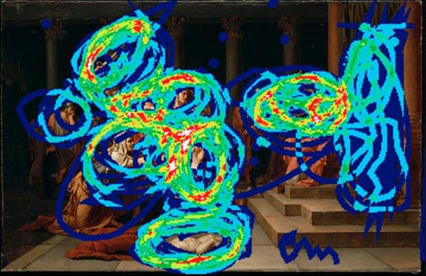 Carte de chaleur indiquant la fréquence d'apparition des tracés de visiteurs (bleu : peu fréquent ; rouge ; très fréquent) sur une représentation de la toile de Jean-Baptiste Wicar, Le Jugement de Salomon (Huile sur toile, 96 × 150 cm, 1785. Lille, Palais des Beaux-Arts). © Palais des Beaux-Arts de Lille/RMN/Julien Wylleman/Ikonikat