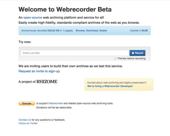 rhizome webrecorder