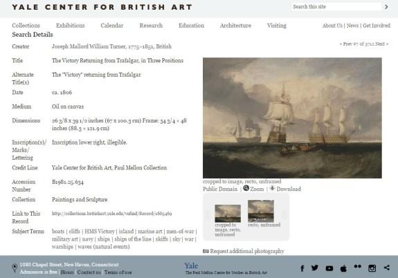 """Page de présentation de l'oeuvre de Turner The """"Victory"""" returning from Trafalgar sur le site collections.britishart.yale.edu/ (avec possibilité de téléchargement et de zoom sur l'image)"""