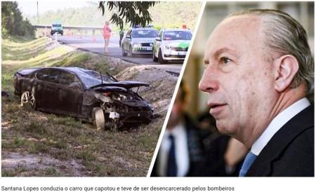 Portugal: Santana Lopes sofre acidente. Carro capotou várias vezes