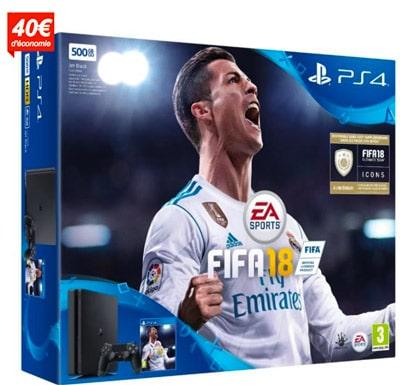 Pack PS4 Slim noire 500Go + Fifa 2018 prix pas cher en promotion