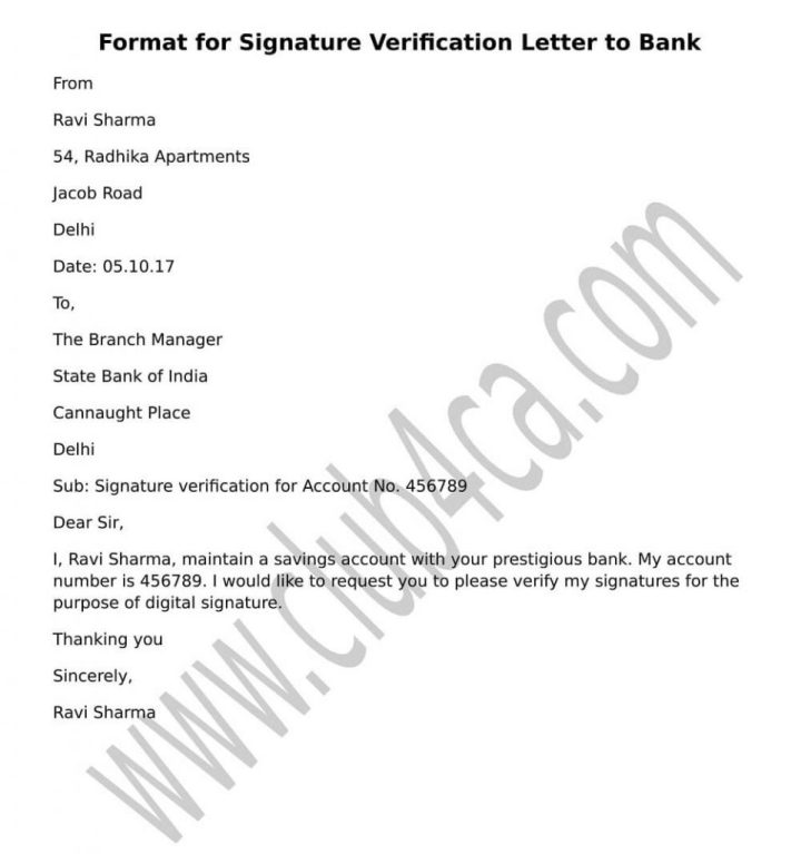 How to write letter for signature verification to bank manager how letter to bank manager letter to bank manager format sample letter to change bank account signatories authorised signatory letter format for bank how to expocarfo Images