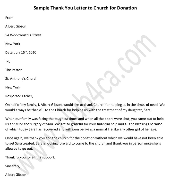 If you decide to write a don. Thank You Letter Template For Donation To Church