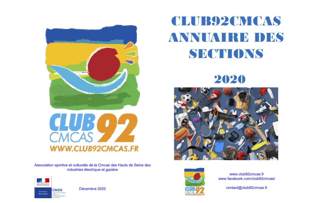 Annuaire Club92Cmcas des sections – Décembre 2020