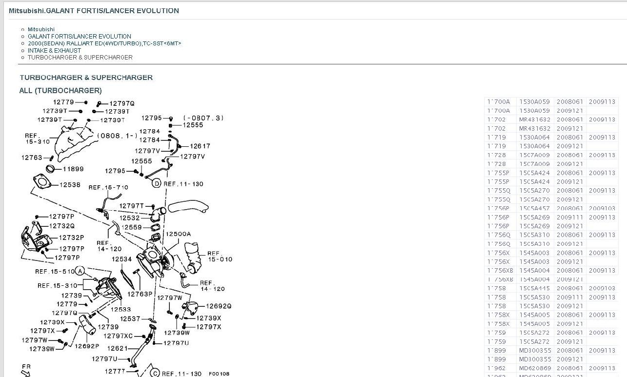 Parts Lists With Diagrams For All Lancer Models