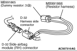 Code No.B1C2D Right side-airbag module (squib) system
