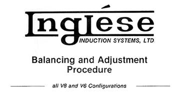 Inglese Balancing & Adjustment Procedure Manuel for Weber