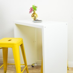 Diy Rolling Kitchen Island Cabinet Sliding Shelves Or Bar Ikea Hack Club Crafted Www Clubcrafted Com