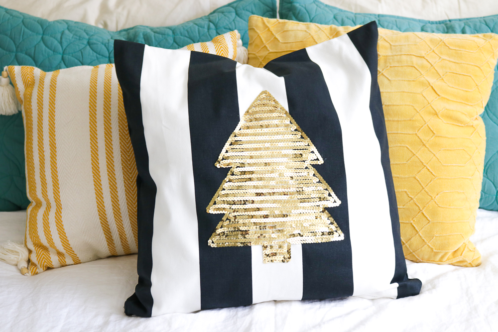 DIY Sequin Tree Pillow for Christmas   Club Crafted