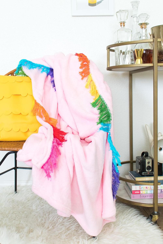 DIY Rainbow Fringe Blanket | Club Crafted