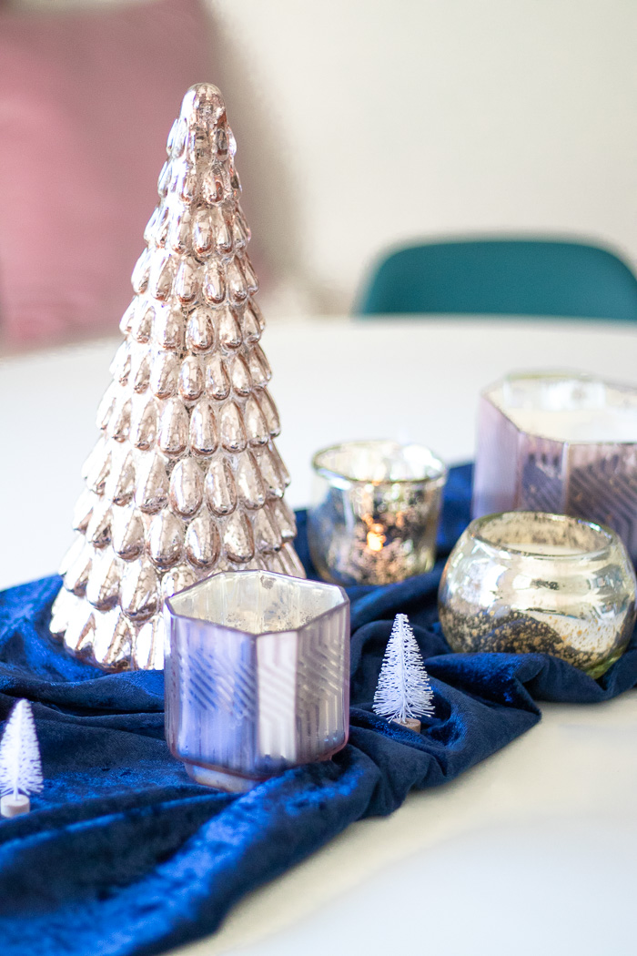Simple Mercury Glass Tablescape for Holiday Gatherings | Club Crafted