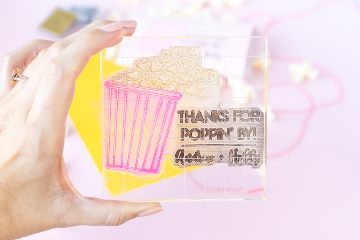 """DIY Stamped Popcorn Favors for Weddings 