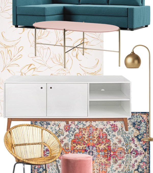 Collage of furniture and renter-friendly decor