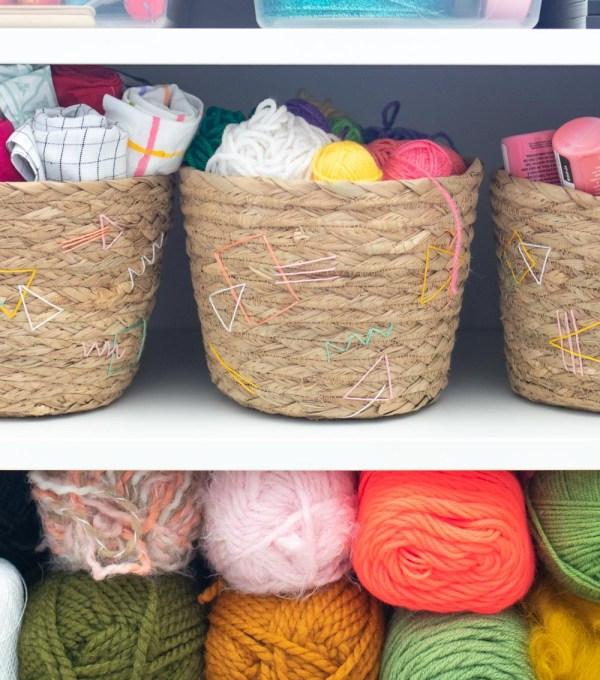 easy basket update with embroidery detail filled with yarn