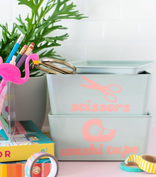 storage boxes with vinyl decals in pink
