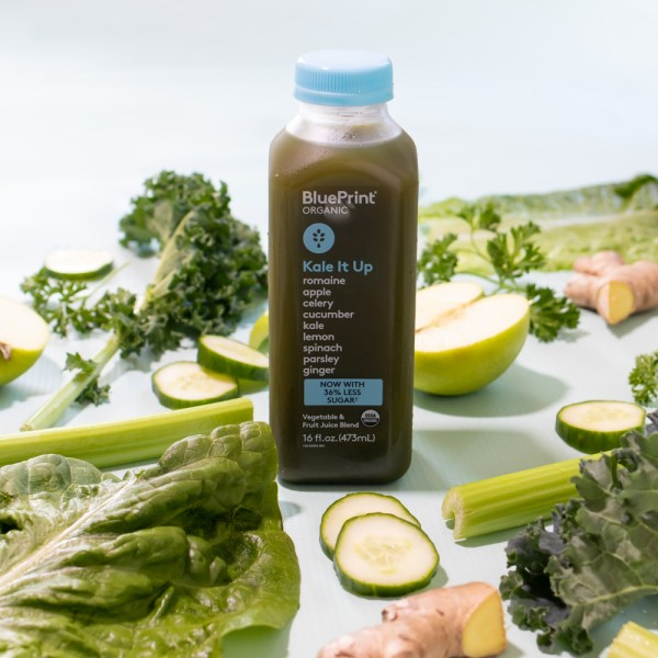 food photography of BluePrint juice with green produce