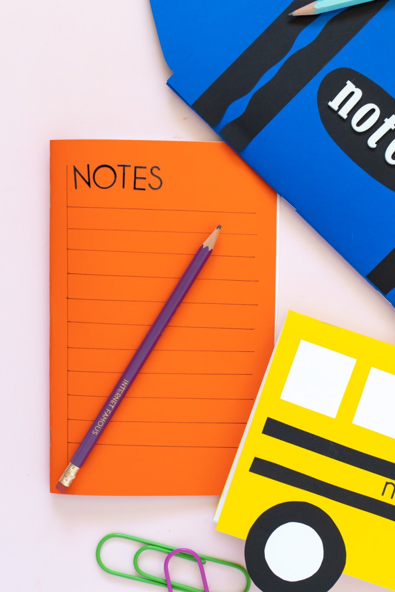 orange paper notebook decorated like notebook paper