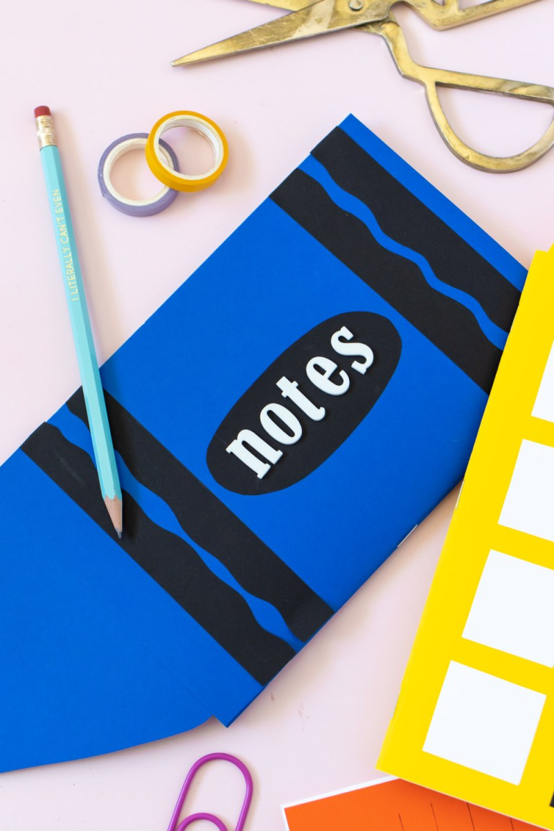 closeup of crayon-shaped easy paper notebooks