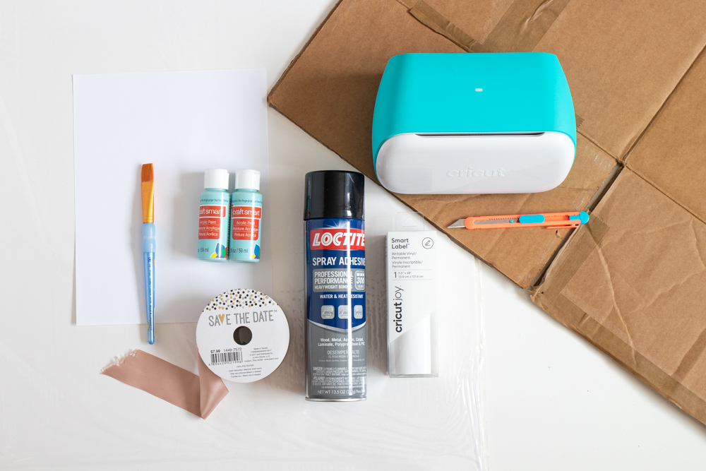 supplies for making a cardboard Halloween costume