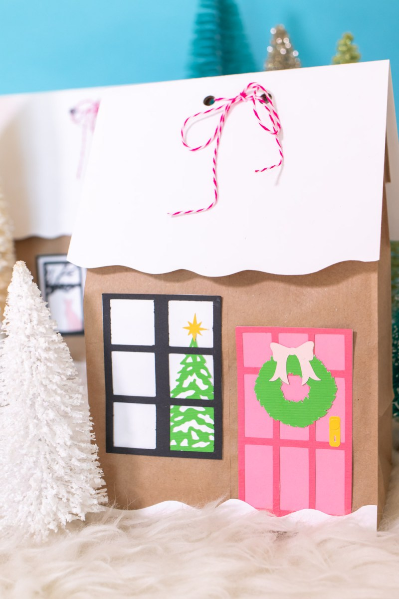 decorated house paper gift bag with door and window