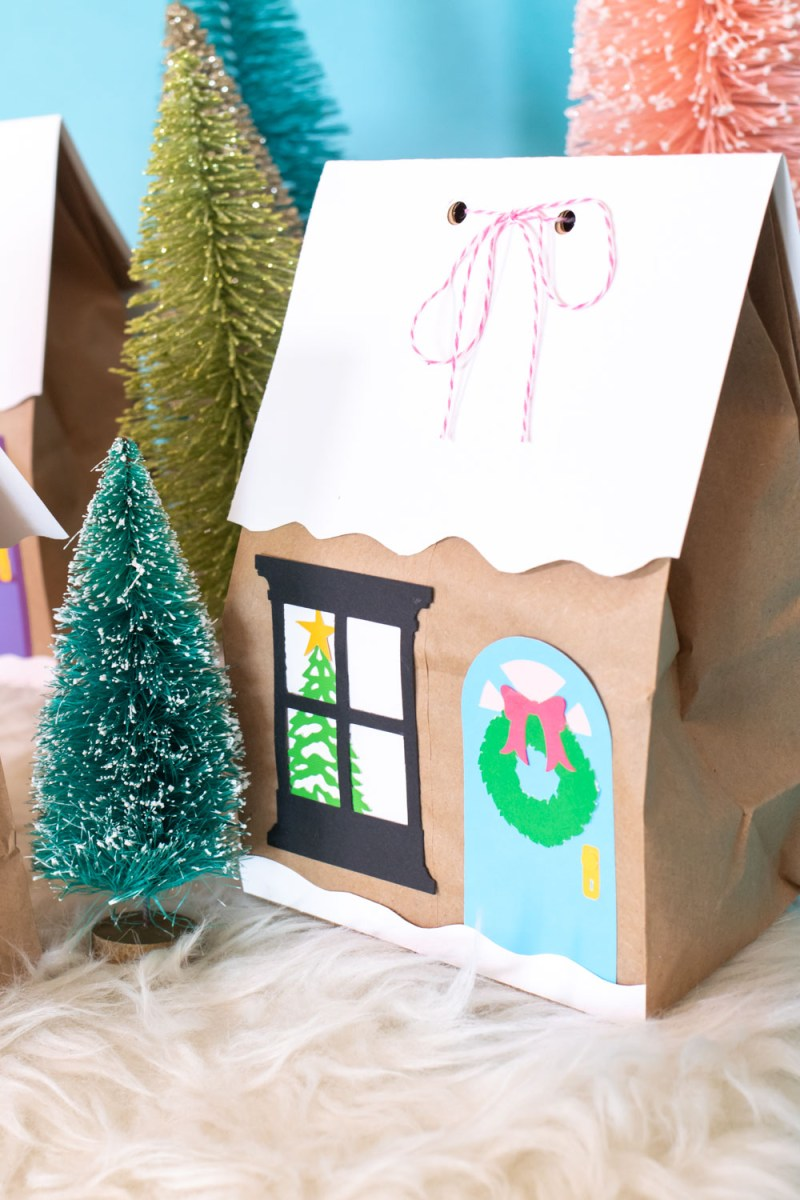door and window glued onto paper lunchbag for gift bag