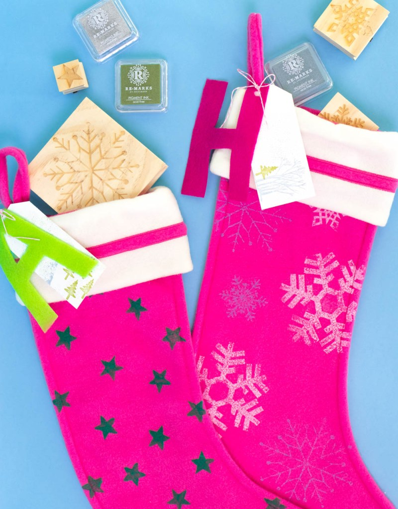 easy stamped stockings with stamps trailing out