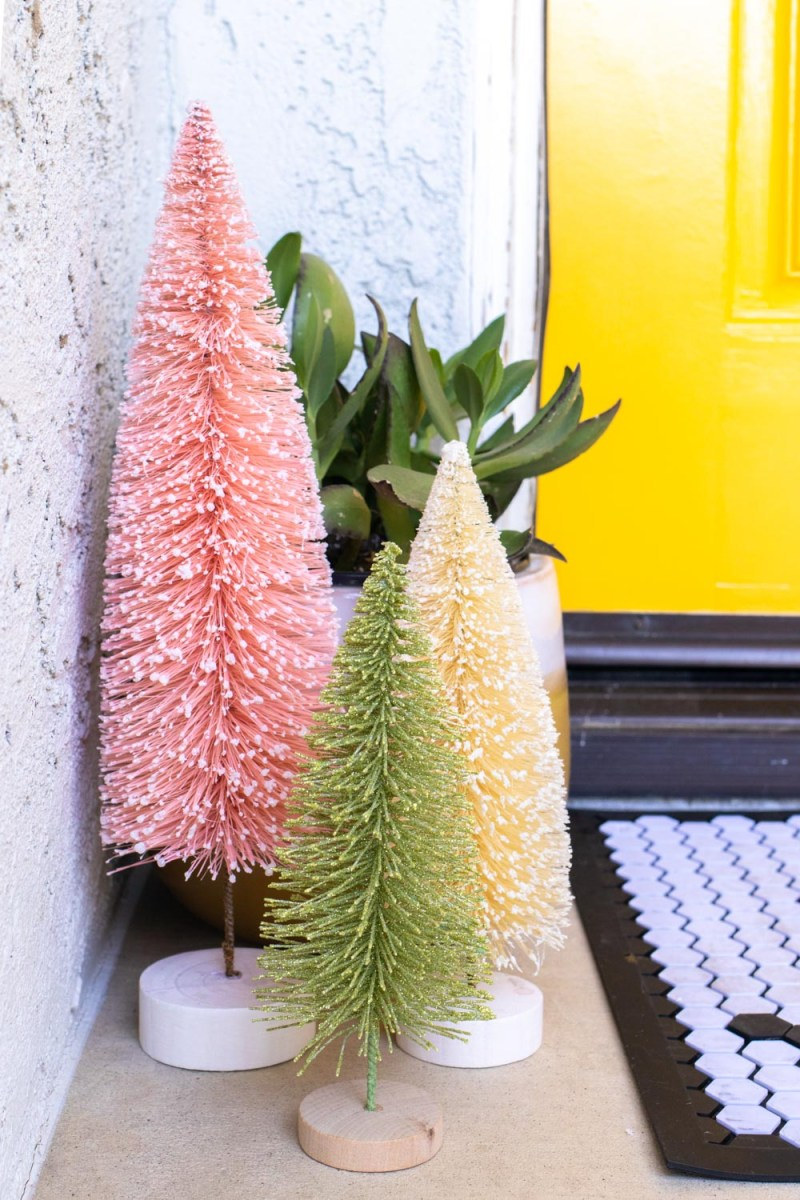 bottlebrush trees and plant in budget friendly front porch holiday makeover