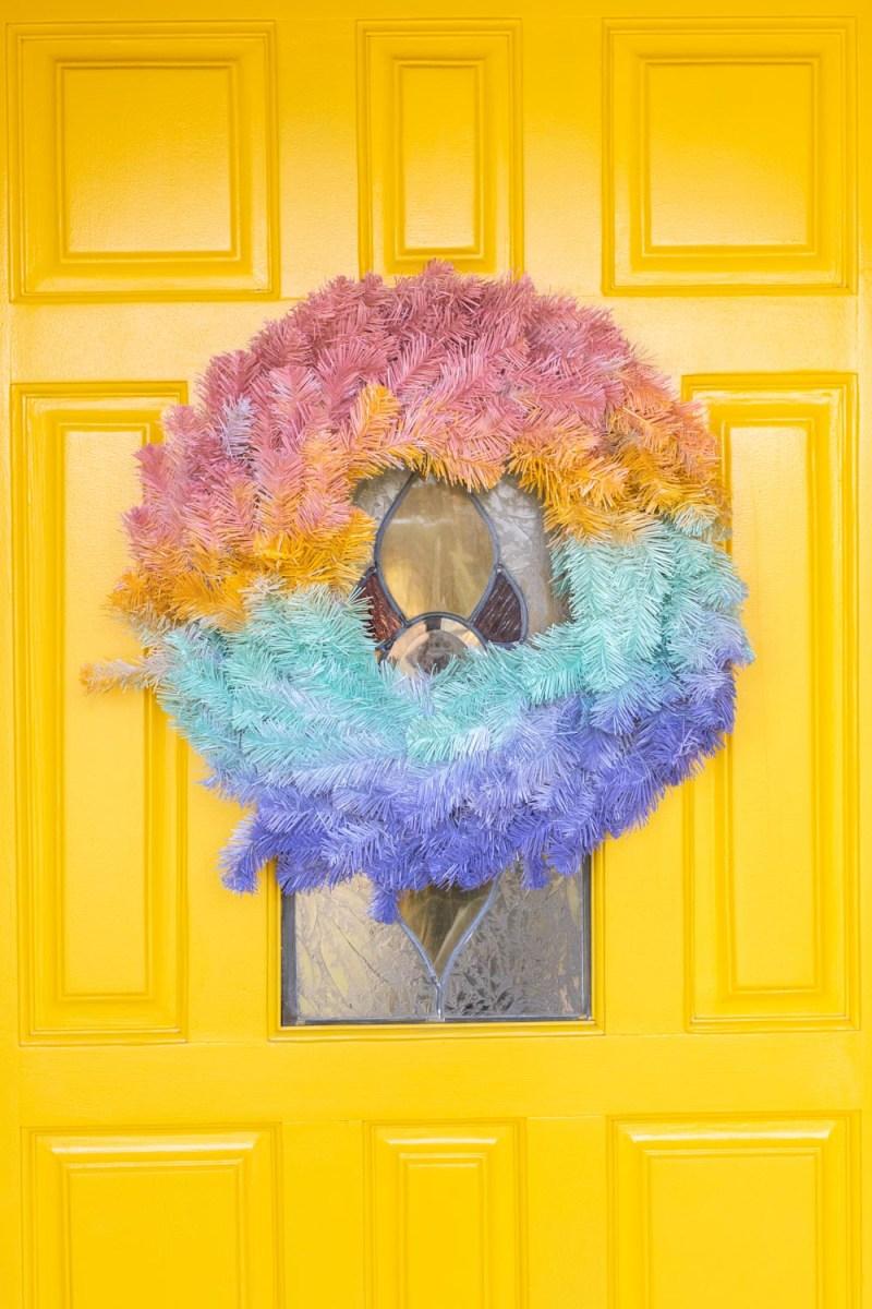 gradient wreath against 80s front door makeover