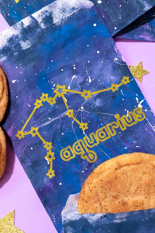 closeup of aquarius zodiac treat bag on purple background