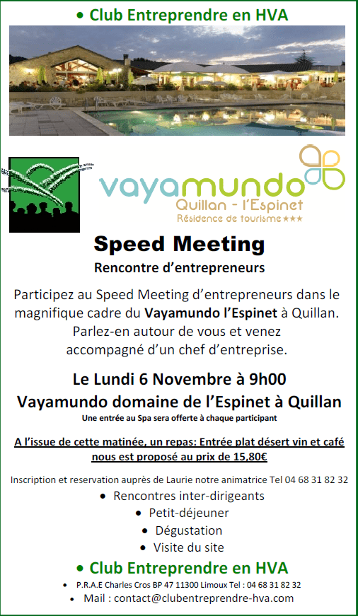speed meeting d'entrepreneurs à Quillan