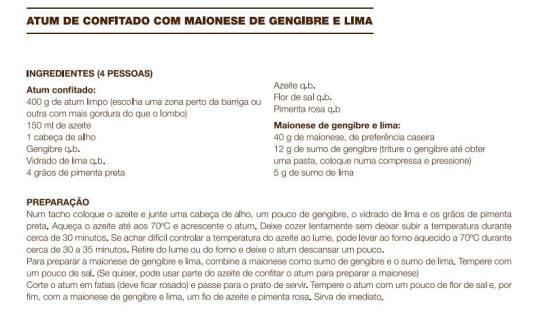 receita Atum de Confitado com Maionese de Gengibre e Lima