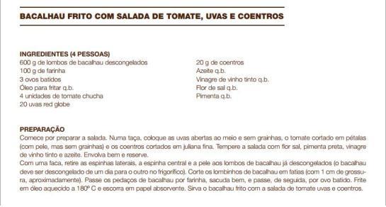 receita Bacalhau Frito com Salada de Tomate, Uvas e Coentros