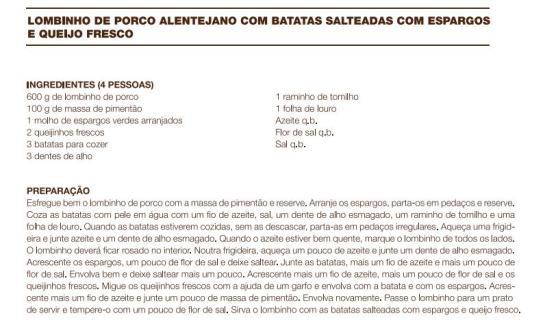 receitas Lombinho de Porco Alentejano com Batatas Salteadas