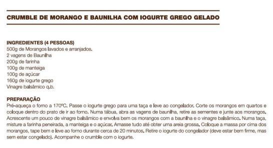 receita Crumble de Morango e Baunilha com Iogurte Grego Gelado
