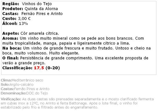 apreciacao Quinta da Alorna Branco 2013