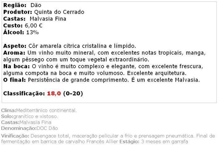 apreciacao 1_Quinta do Cerrado Malvasia 2012