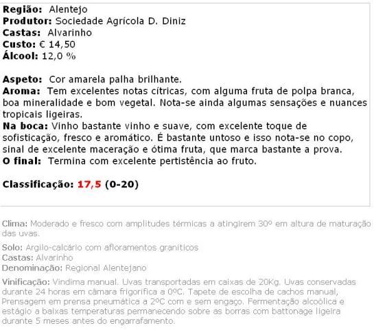 apreciacao Monte da Ravasqueira Alvarinho 2012