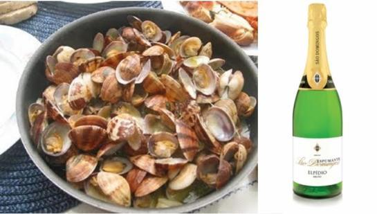 Ingredientes: Para 4 pessoas 1,5 kg de amêijoas ; 5 cls de azeite ; 300 grs de tomates frescos ; 2 dentes de alho ; 150 grs de cebolas ; 100 grs de chouriço ; 60 grs de presunto ; 1 dl de vinho branco seco ; 1 folha de louro ; 1 ramo de salsa ; pimenta q.b. ; sal q.b. Confecção: Lave bem as amêijoas em água fria. Cubra-as com água salgada, ou, na falta desta, utilize água e sal, algumas horas antes da sua confecção. Descasque a cebola e pique grosseiramente. Descasque, também, o alho e pique bem fino. Leve um tacho ao lume com o azeite. Junte o alho, a cebola e a folha de louro. Adicione o ramo de salsa. Deixe refogar. Junte o vinho branco e deixe reduzir (apurar). Entretanto, corte o presunto em pedaços peuqenos e ponha a demolhar em água fria. Corte, também, o chouriço em meias luas. Retire os pés aos tomates, escalde estes em água a ferver e limpe de peles e sementes. Corte-os em dados pequenos e ponha-os no tacho. Junte igualmente o presunto e o chouriço. Deixe estufar tudo durante 5 a 10 minutos. Retire o ramo de salsa e a folha de louro. Tire as amêijoas da água salgada e lave novamente em água fria. Leve uma cataplana ao lume e ponha uma camada do conteúdo do tacho. Sobre esta camada coloque as amêijoas e cubra com o restante conteúdo do tacho. Tape a cataplana e leve a lume não muito forte. Quando passarem 5 minutos volte a cataplana e deixe ao lume mais 10 a 12 minutos para que as amêijoas abram. Conselho: Utilize amêijoas grandes e a cataplana só deve ser aberta em presença de quem a vai comer. fonte: Região de Turismo do Algarve