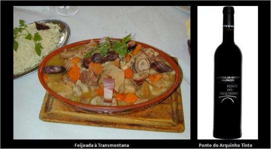 Para 8 pessoas   1 kg de feijão; 500 g de orelha de porco; 200g de focinho de porco; 1 pé de porco; 1 linguiça; 100 g de salpicão; 100g de presunto; 1 dl de azeite; 1 cebola; 1 ramo de salsa; 1 folha de louro; 1 dente de alho; pimenta branca; malagueta e colorau; 1 cravinho (fac.); sal   De véspera, põe-se de molho em água fria num recipiente o feijão previamente lavado e, num outro, as carnes, que são sempre fumadas. No dia seguinte, coze-se o feijão na água em que demolhou. Cozem-se as carnes noutro recipiente e, depois de bem cozidas (incluindo a linguiça e o salpicão), cortam-se em bocados.  Cortam-se em rodelas a linguiça (chouriço de carne) e o salpicão. Aloira-se a cebola com o azeite e junta-se-lhe o feijão com a água em que cozeu (que não deve ser muita).  Juntam-se as carnes e um pouco de água que serviu para as cozer. Rectifica-se o sal e juntam-se a salsa, o louro, o dente de alho picado, a malagueta, o colorau e, querendo, o cravinho. Deixa-se apurar com o lume muito brando.  Acompanha com arroz de forno bem seco. Esta feijoada é, em Valpaços, prato indispensável no almoço de Domingo Gordo. Começa a preparar-se de manhã, muito cedo, para permitir retirá-la do lume e reaquecê-la antes de a servir, pois é mais apreciada e melhor reaquecida. Acompanha-se com arroz de forno bem solto.