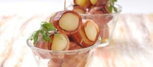 Batata nova no forno com bacon Receita da Teleculinária