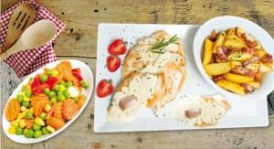 Bifes de frango com molho de iogurte, batatas salteadas e legumes  Chef Hernâni Ermida