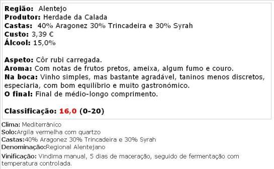 apreciacao PORTA DA CALADA TINTO 2013