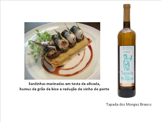 Sardinhas marinadas em tosta de olivada, humus de grão de bico e redução de vinho do porto