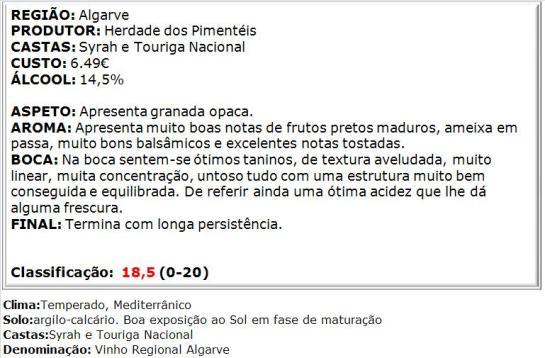 apreciacao Herdade dos Pimenteis Reserva Tinto 2012 2