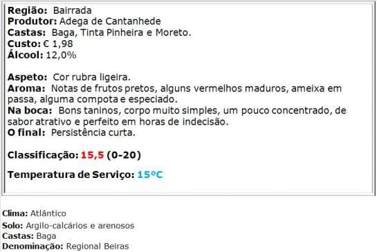 apreciacao Cantanhede Regional Beiras Tinto 2013