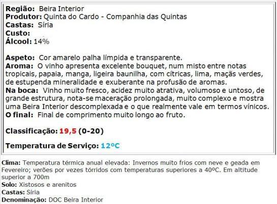 apreciacao Quinta do Cardo Bio Branco 2014