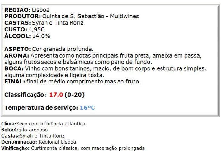 apreciacao S. Sebastião Tinto 2013