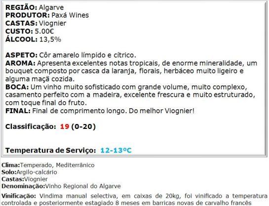 apreciacao Paxá Viognier Reserva Branco 2013